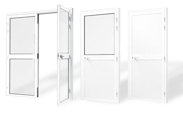 puerta estandar aluminio panelada 1 2 hojas serie 7009 e 45