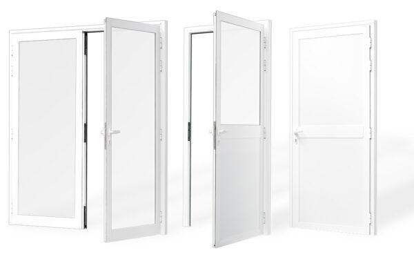 puerta superior aluminio panelada 1 2 hojas serie 4020