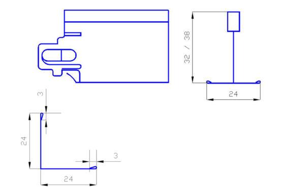 perfil T24 baston clip L blanco para techos registables